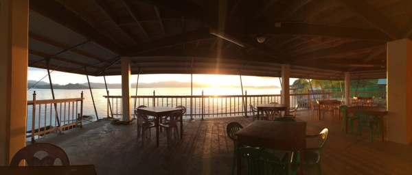 Raiders Hotel - Tulagi Sunrise at the Bar/Dining deck.